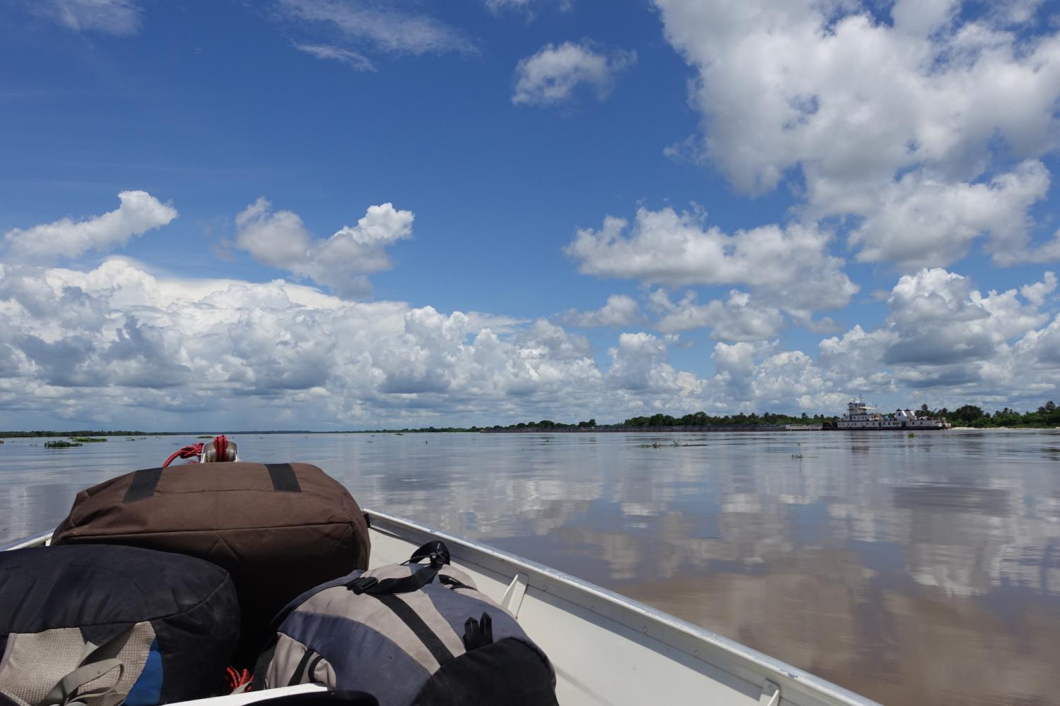 Boat on calm Rio Paraguay river