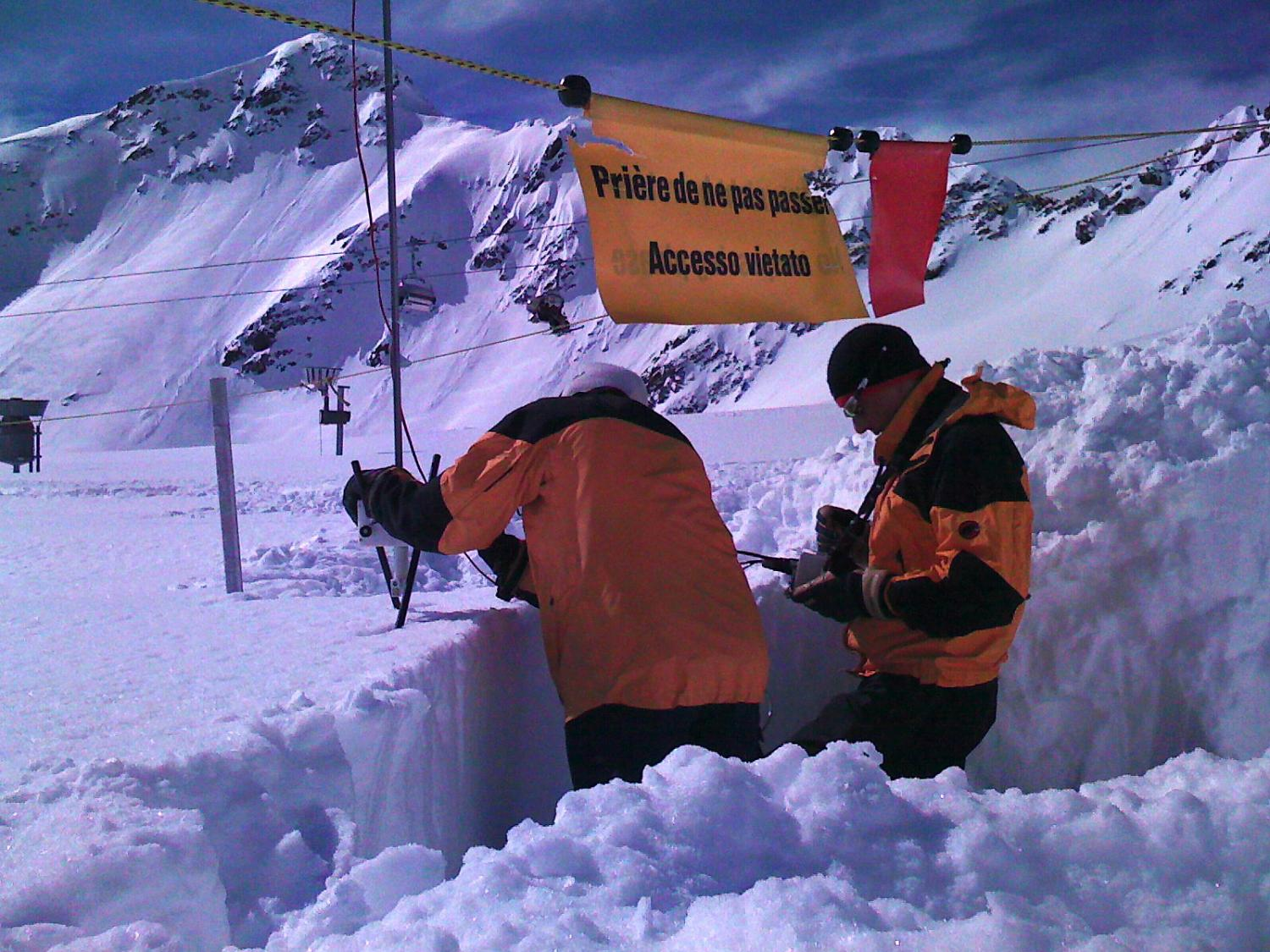 Collaborators from the Swiss Federal Institute for Snow and Avalanche Research measuring snow properties with the Snow Micro-Penetrometer. March 2009.  Photo: Noah Molotch (Geography & INSTAAR, CU-Boulder).