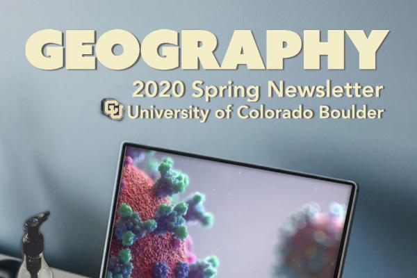 2020 Spring Newsletter cover showing laptop with photo of coronavirus