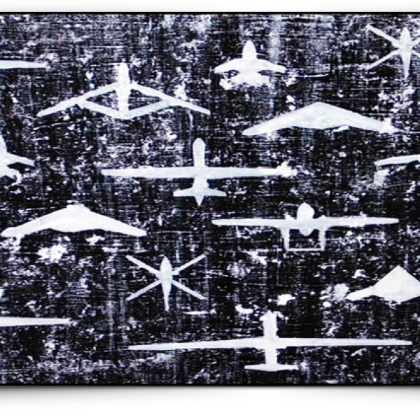 Abstract artwork of planes and mountains in a pattern
