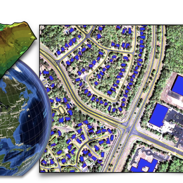 Collage or 3D map, the earth, and an overhead satellite image