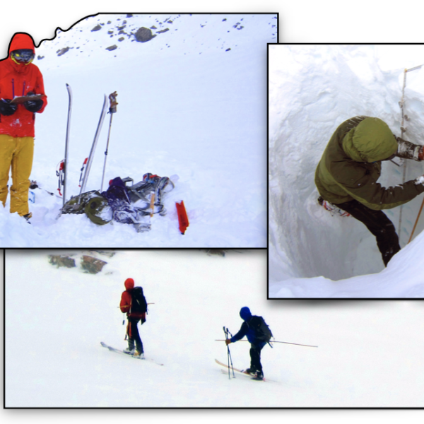 Collage of students doing research in the snow-covered mountains