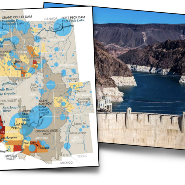Collage of water map with water usage statistics, water dam