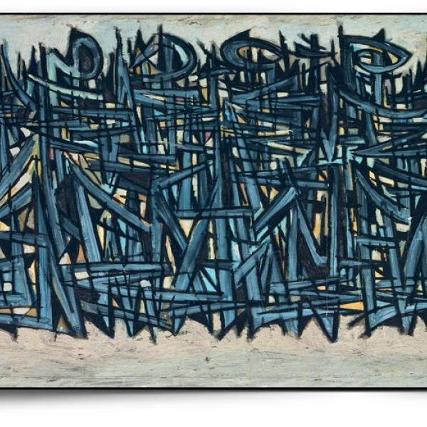 Modern artwork of cross-hatched lines
