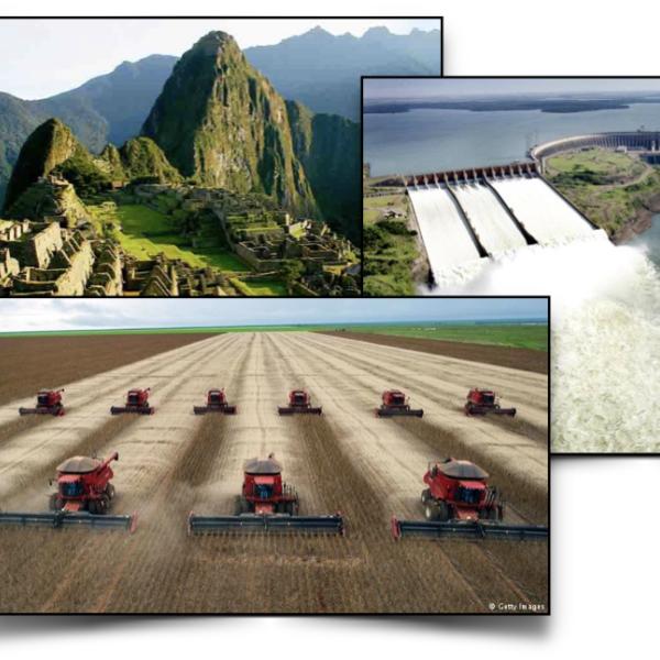 Collage of tractors in the field, Machu Pechu, a dam, Rio de Janero