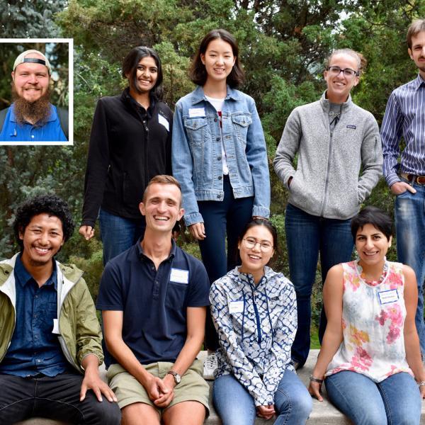 Fall 2018 Graduate Students Group Photo - Back Row: Alexander Jasper (insert), Shruthi Jagadeesh, Yuying Ren, Caitlin McShane, Fedor Popov.  Front Row: Phurwa Gurung, Kylen Solvik, Lin Zhu, Neda Shaban