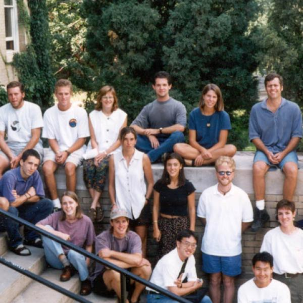 Fall 1994 Graduate Students Group Photo - Back Row: Sherrill Mindia Brown, Michael Rock, Gabe Preston, Donna Rubinoff, Michael Solem, Hillary Hamann, William Jeffery Weber, Tina Gayon  Middle Row: Jeffrey Cole, Ciaran Hurst, Kerstin Switala (standing), Leigh Miller (standing), Andrew Smith (standing), Alice Wondrak (standing), Sara Fabrikant (standing)  Front Row: Melanie Peterson, Eran Hood, Ming Hsiang Tsou, Stephen Huh