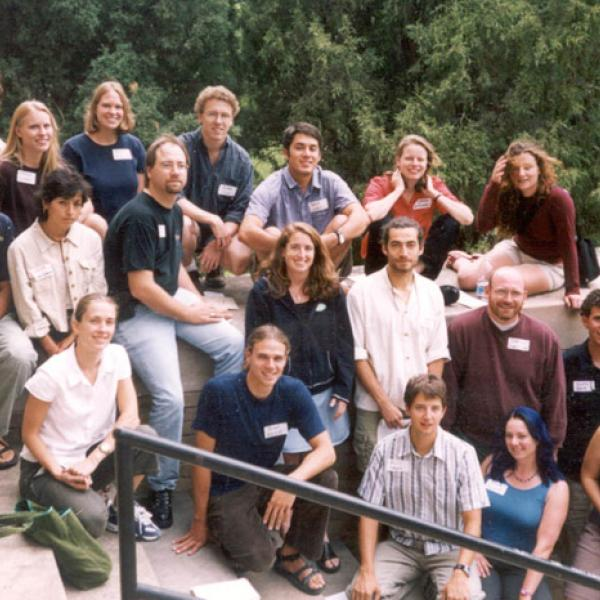 Fall 2002 Graduate Students Group Photo - Back Row: Craig Anderson, Vanessa Bauman, Molly McAllister, Roland Viger, Daniel Cordalis, Micheline van Riemsdijk, Clionadh Raleigh.  Middle Row: Samuel Schueth, Leonith Hinojosa-Valencia, Joseph Alfieri, Leora Nanus, Andres Holz, Jeffery Hamerlink, Luke Ward.  Front Row: Taryn Oakley, Brian Kurzel, Kevin League, Anita Howard, Kristine Gibson, Brock McCarty.