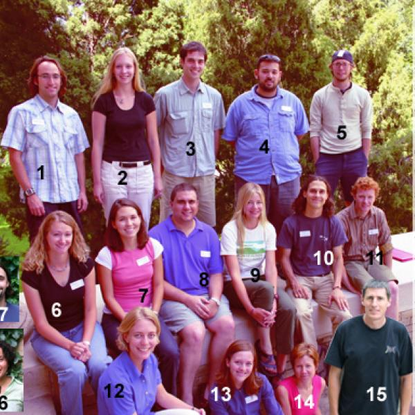 Fall 2004 Graduate Students Group Photo - Back Row:1. Brendan Kiernan, 2. YaffiaTruelove, 3. Juan Paritsis, 4. Kiyoshi Yamashita, 5. Andrew Meyer.  Middle Row: 6. Brandy Logan, 7. Kristina Wynne, 8. Paul Abood, 9. Carla Vandervoort, 10. Chris McMorran, 11. Joseph Gartner.  Front Row: 12. Meg Tilton, 13. Aimee Pierce, 14. Monica Smith, 15. David Kindig,  Left Side: 16. Marian Medovaya, 17. Brendan Soennecken