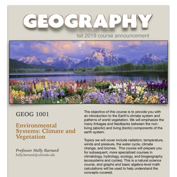 GEOG 1001 Course Announcement for Fall 2019