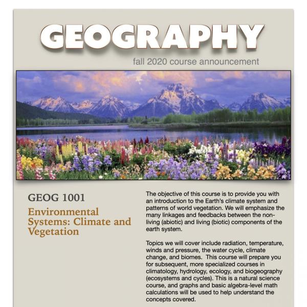 GEOG 1001 Course Flyer for Fall 2020