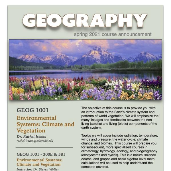 GEOG 1001 Course Flyer for Spring 2021