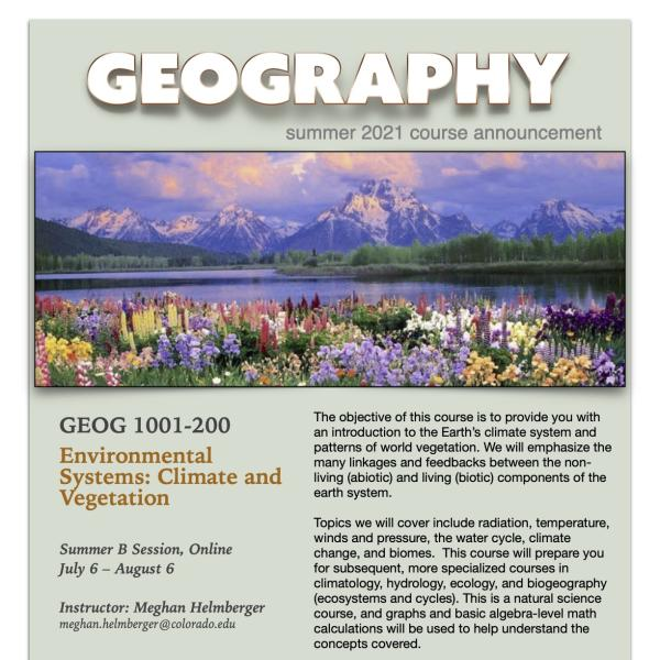 GEOG 1001 Course Flyer for Summer 2021