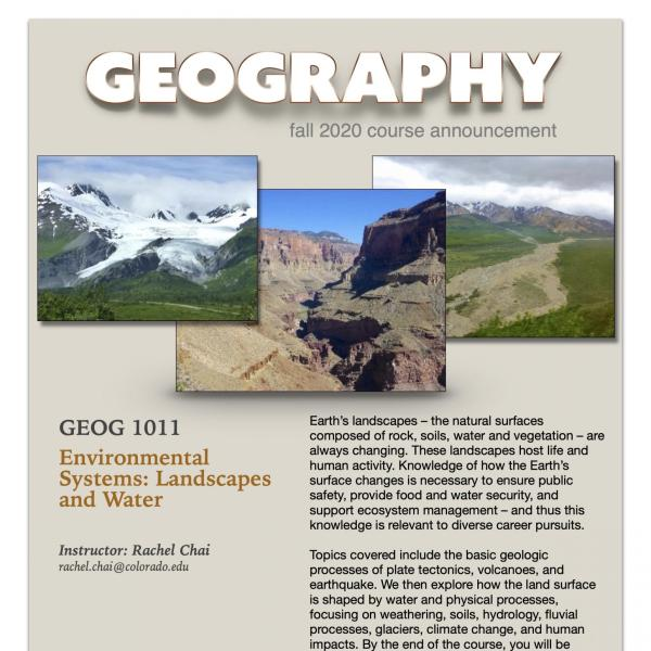 GEOG 1011 Course Flyer for Fall 2020