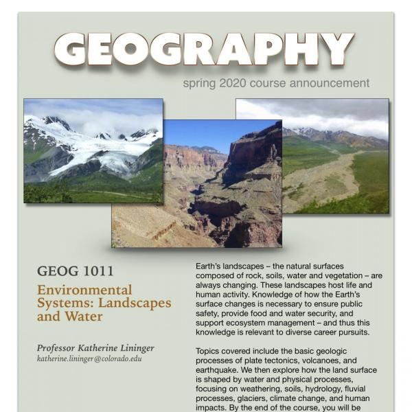 GEOG 1011 Course Announcement for Spring 2020