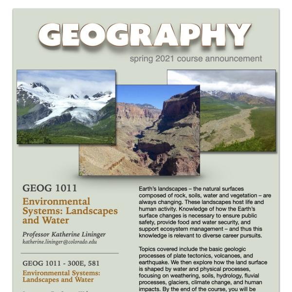GEOG 1011 Course Flyer for Spring 2021