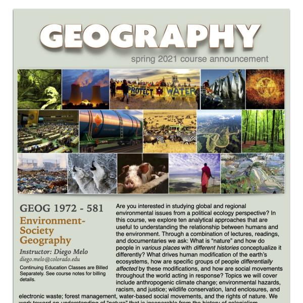 GEOG 1972-581 Course Flyer for Spring 2021