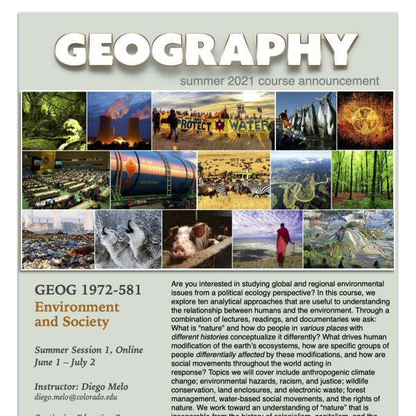 GEOG 1972-581 Course Flyer for Summer 2021