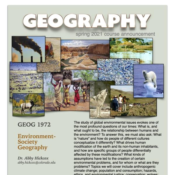 GEOG 1972 Course Flyer for Spring 2021