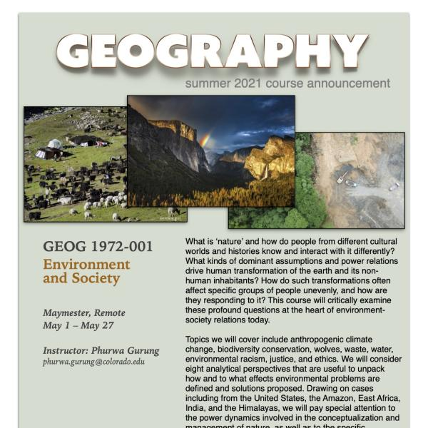 GEOG 1972 Course Flyer for Summer 2021