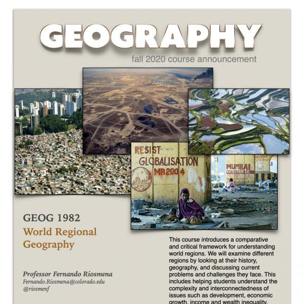 GEOG 1982 Course Flyer for Fall 2020