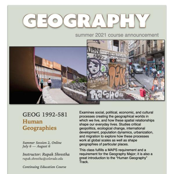 GEOG 1992 Course Flyer for Summer 2021