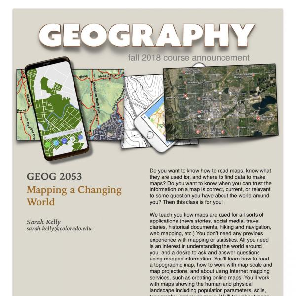 GEOG 2053 Course Flyer for Fall 2018