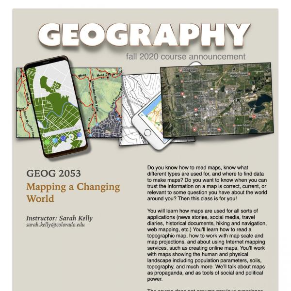 GEOG 2053 Course Flyer for Fall 2020