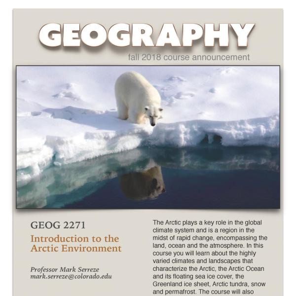 GEOG 2271 Course Flyer for Fall 2018