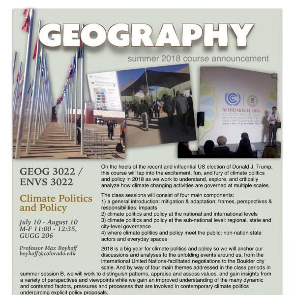 GEOG 3022 Course Flyer - Summer 2018