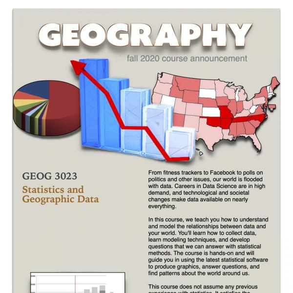 GEOG 3023 Course Flyer for Fall 2020