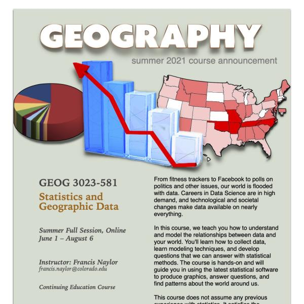 GEOG 3023 Course Flyer for Summer 2021