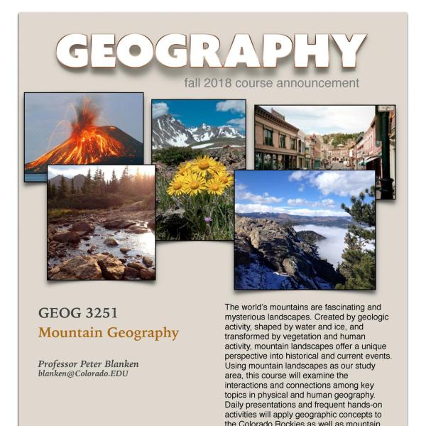 GEOG 3251 Course Flyer for Fall 2018