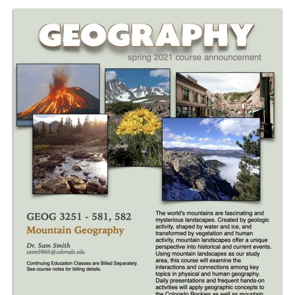 GEOG 3251 Course Flyer for Spring 2021