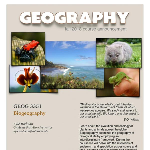 GEOG 3351 Course Flyer for Fall 2018