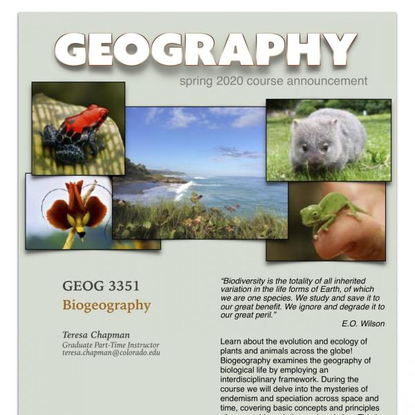 GEOG 3351 Course Announcement for Spring 2020