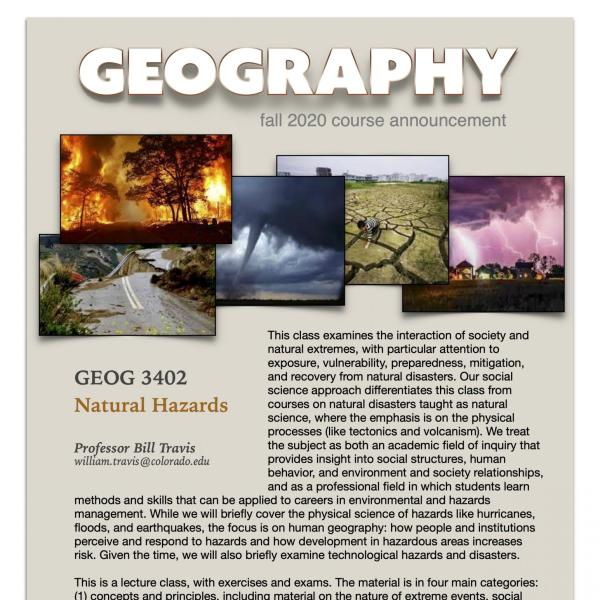GEOG 3402 Course Flyer for Fall 2020