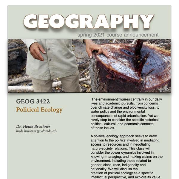 GEOG 3422 Course Flyer for Spring 2021