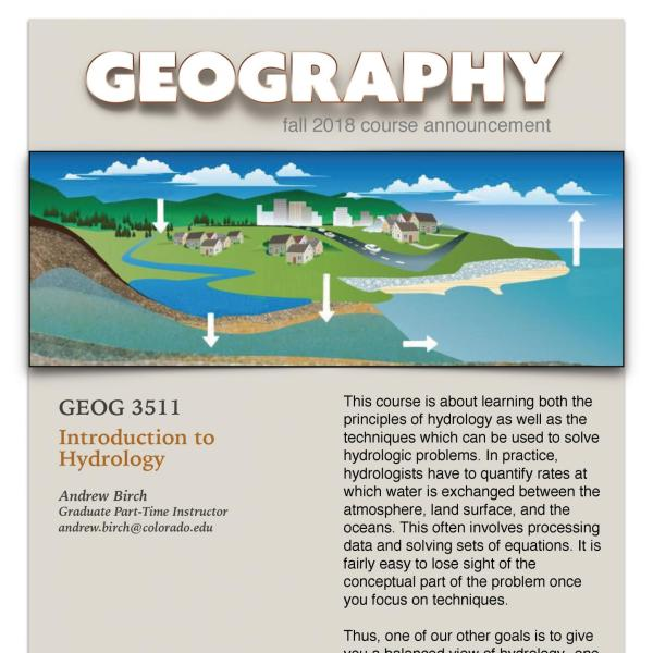 GEOG 3511 Course Flyer for Fall 2018