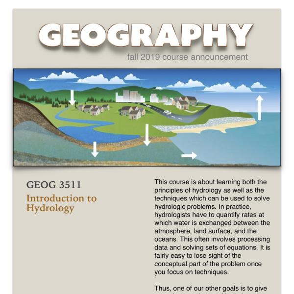 GEOG 3511 Course Announcement for Fall 2019