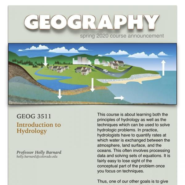 GEOG 3511 Course Announcement for Spring 2020