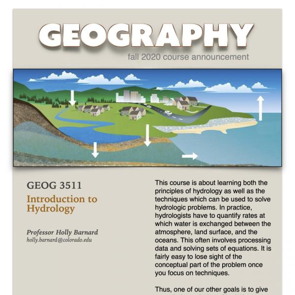GEOG 3511 Course Flyer for Fall 2020