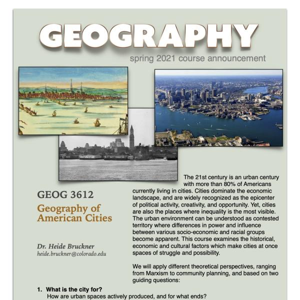 GEOG 3612 Course Flyer for Spring 2021