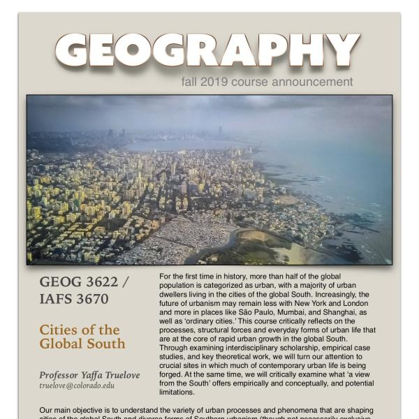 GEOG 3622 Course Announcement for Fall 2019