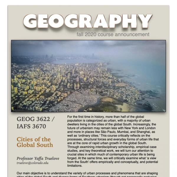 GEOG 3622 Course Flyer for Fall 2020