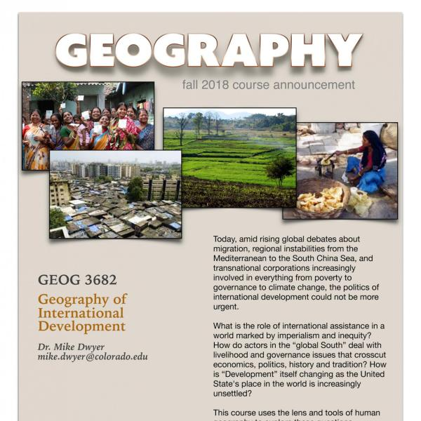 GEOG 3682 Course Flyer for Fall 2018