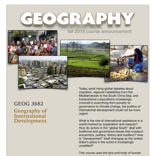 GEOG 3682 Course Announcement for Fall 2019