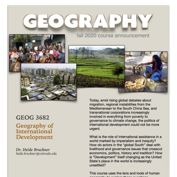 GEOG 3682 Course Flyer for Fall 2020