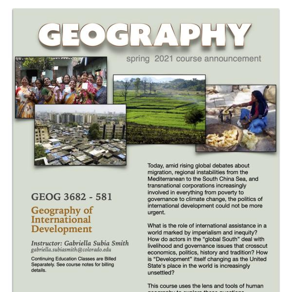 GEOG 3682 Course Flyer for Spring 2021