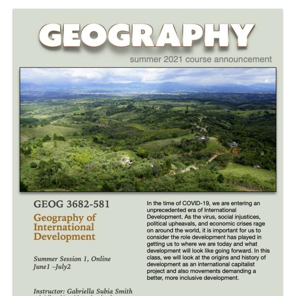 GEOG 3682 Course Flyer for Summer 2021